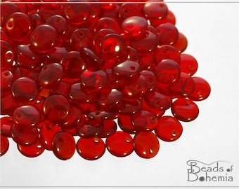 50 pc Transparent Ruby Lentil Beads 6 mm (8553)