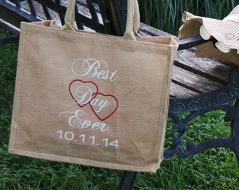 Best Day Ever & Date, Wedding Day Totes, Embroidered Burlap Tote, Bridal Shower Gift,  GIFT WRAPPED