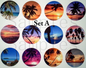 """Beach Pins, Magnets or Flat Back Buttons, 1 inch, 1.25 inch, 2.25"""" inch, Different Designs Available, Choose your Set, Party Favors,"""