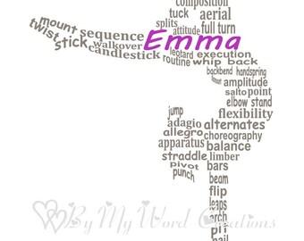 Gymnastics Word Art, Personalized Gymnastics Gift, Gymnast Word Art, Gymnast Gift, Gymnastics Coach Gift, Gymnast Art PRINTABLE DIGITAL FILE