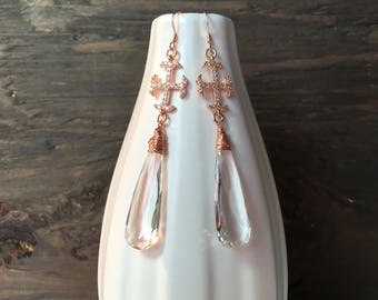 Rose gold crystal quartz earrings, handmade rose gold earrings