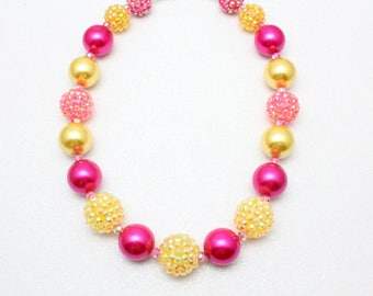 Little Girl Lemonade Necklace, Lemonade Bubble Gum Necklace, Pink and Yellow Necklace, Childrens Necklace, Bling Necklace, Chunky Bling