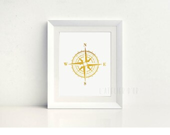 Compass Gold Foil Print - Room Decor - Wall Art - Inspiration - Real Gold Foil Print - Gift Idea -