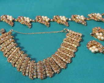 Glitzy Multi Color Rhinestone Jewelry Necklace Bracelet Earrings, Mid Century Rhinestone Jewelry Set, Multi Color Crystal Rhinestone Set