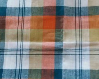 Coupon orange and green plaid fabric