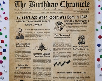 70th Birthday Gifts, Personalized, Headline News Print, Time Capsule, Newsletter Style, 1948 Birthday Gift, Chronicle, 70th Milestone Gifts