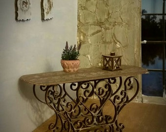 Exquisite miniature dollhouse side table with dark bronze iron style scroll base and oil rubbed bronze grapeleaves top 1:12 scale