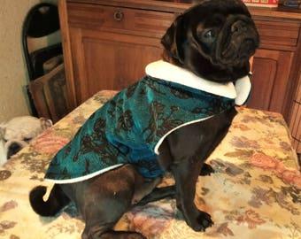 Velvet lined fleece small dog coat