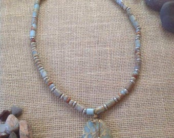 Aqua terra Jasper necklace #018