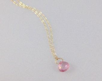 Solid 14k Yellow Gold Superfine Chain Genuine Briolette Tourmaline Necklace Gift for Daughter Wife BFF Best Friend