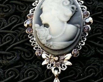 beautiful cameo brooch face embossed on silver setting