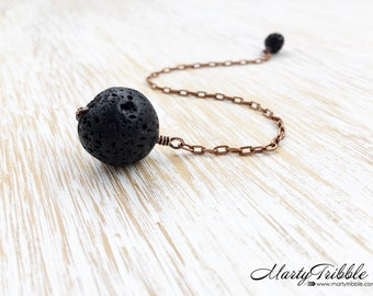 Black Lava Stone Pendulum, Crystal Pendulum, Dowsing Tool, Reiki Healing, Divination Stone, Intuition, Fortune Telling, Scrying Stone, Wicca