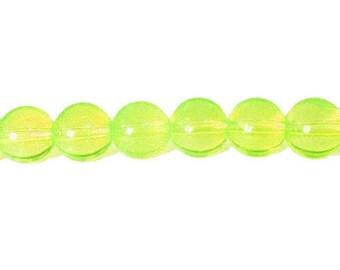 10 x 10mm NEON yellow neon glass round beads
