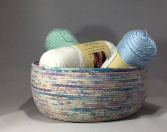 Coiled Rope Bowl, Splatter Dye Rope Bowl, Coiled Rope Dyes Bowl, Medium Rope Bowl, Rope Bowl,Cotton Poly Rope Bowl,Sewn Rope Bowl