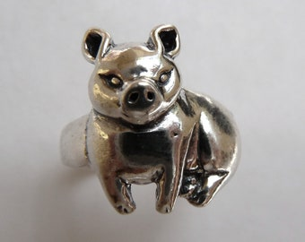 Sterling Silver Big Pig Ring