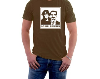 Lennon and Marx T-shirt. Music Movies. John & Groucho, Marx Brothers and The Beatles. Funny Cotton Tee.