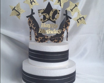 Zebra or Leopard High Heel Shoes Stiletto Glitter Birthday Cake Topper Party Decoration, Any Age And Name,16th,18th,21st,50th, 60th, 65th