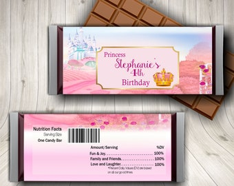 Princess Birthday Candy Bar Wrapper, Princess Party, Personalized Girl Birthday, Princess Thank You, Princess Crown Party Favor