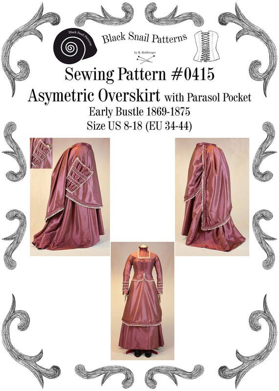 Victorian Sewing Patterns- Dress, Blouse, Hat, Coat, Mens Victorian Asymmetric Overskirt (apron) Early Bustle with Parasol Pocket Sewing Pattern #0415 Size US 8-30 / EU 34-56 $4.71 AT vintagedancer.com