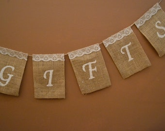 Customizable Burlap Gifts Banner, Wedding Gifts Sign, Party Gifts Banner