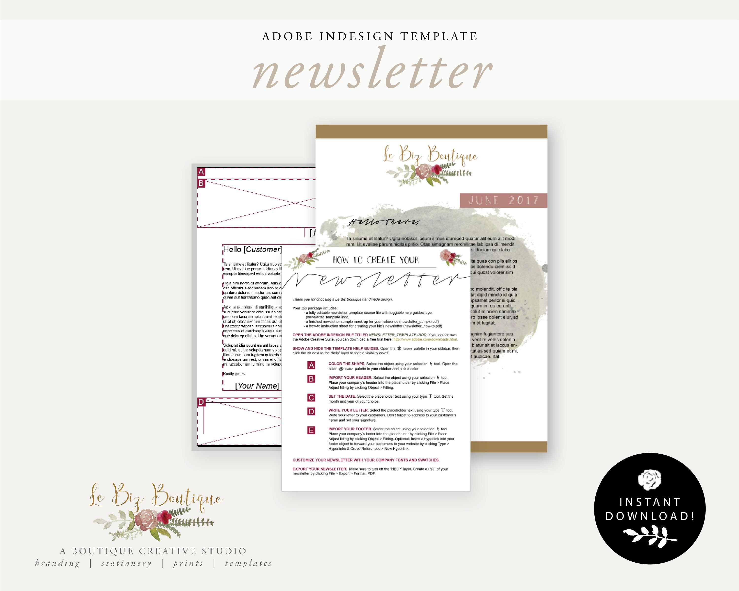 Monthly Newsletter Template Package A4 InDesign Template
