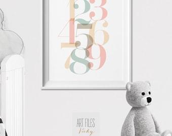 Nursery Numbers Print, Wall Art, Nursery Art, Pastel Numbers, Home Decor, Geometric Print, Wall Decor, Minimalist Poster, ArtFilesVicky