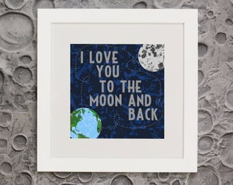 I Love You to the Moon and Back framed wall art and space themed poster decor for boys rooms, playrooms and for the junior astronomer.