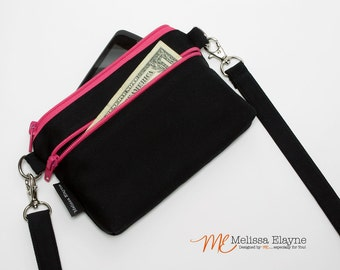 Small Crossbody Purse, iPhone / Samsung Galaxy Wallet with Removable Strap -Black