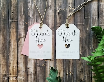 Personalized White》FAVOR TAG《Heart | Wedding | Engagement | Party | Thank You | Gift Tag