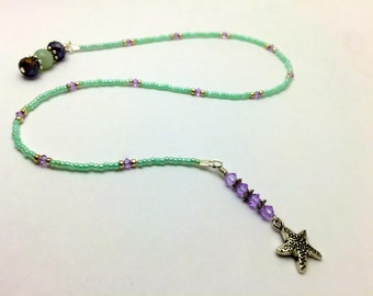 Beaded Starfish Bookmark,  Mint Green Bookmark, Gift for Readers, Book Jewelry, Book Thong, Reading Accessories, Book Lovers GiftBook Lover