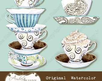 Digital Clipart Clip art Coffee Cup art AJR-096 cappucino latte mocha java blue chocolate brown hang tag Deja Brew Collection paisley