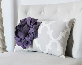 Flower Pillow - Decorative Flower on French Gray Moroccan Print Lumbar Pillow -Farmhouse, French Country Decor-