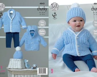 King Cole chunky baby knitting pattern, baby cardigan knitting patterns, baby chunky hat pattern, easy knitting patterns, easy knit pattern