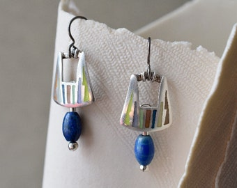 Champleve enamel earrings with lapis lazuli drop