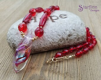 Red Glass Bead Necklace, Hand-blown Glass Pendant, Beaded Necklaces, Glass Necklace, Glass Beads