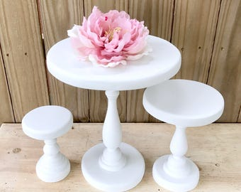 Dessert Table Stands, Set of 3 Wedding Cake Stand, Rustic Wood Cake Stand