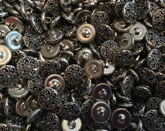 50 Vintage Metal Buttons - Silver