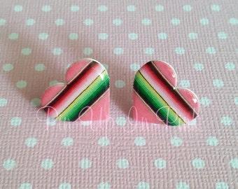 Pink Serape Heart Earrings