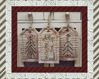 Christmas Stick Tree Tag Collection-Primitive Stitchery-E-PATTERN by Primitive Stitches-Instant Download