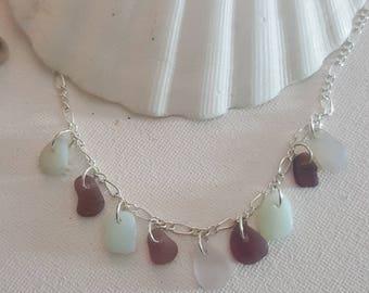 Sea glass necklace, Purple lilac opalescent milk glass Necklace Beach finds, Statement necklace, Genuine sea glass, Eco, Victorian 20 inch