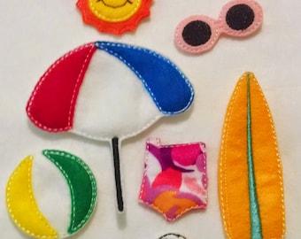 Non paper doll beach set includes 7 pieces , Quiet Game, felt gamel, travel toy,  Felt Favor, Children's Toys #1529