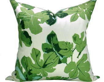 Fig Leaf pillow cover in Faded on Hemp - ON BOTH SIDES