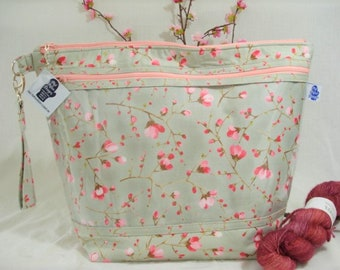 Cherry Blossoms, Knitting Project Bag, Zippered Project Bag, Knitting Wedge Bag, Yarn Tote Bag, Yarn Bag, Knitting bag,