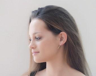 Long Silver Stud Earring Single or Pair, Minimal Round Sterling Silver Bar Earrings, Gift, Girlfriend, Silver Studs, Statement Earrings