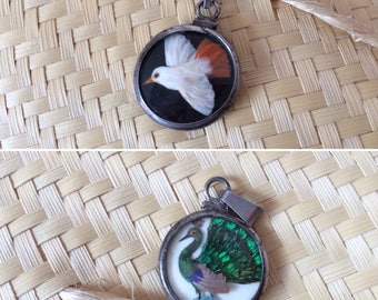 Double sided sterling silver pendant