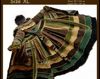 Elf coat, sweater coat, green velvet coat, fairy coat, patchwork coat, hippie coat, gypsy coat, boho coat, size XL,