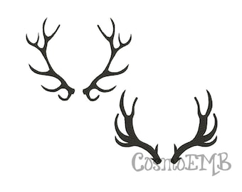 2 Deer Antlers 8 Size Embroidery design  Machine Embroidery - Digital INSTANT DOWNLOAD