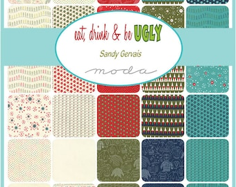 Eat, Drink & Be Ugly Charm Pack by Sandy Gervais for Moda