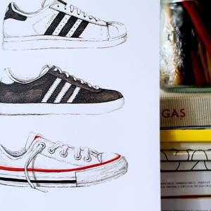 Sneakers Print | Adidas Superstar, Gazelle, Converse All Stars | Fashion  Illustration | Fashion