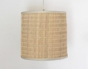 Rattan chandelier etsy woven rattan drum lampshade pendant hanging light chandelier aloadofball Image collections